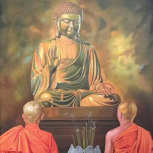 the buddha's children, 36 x 48 inch, tavishi kanoria,buddha paintings,paintings for living room,canvas,oil paint,36x48inch,religious,peace,meditation,meditating,gautam,goutam,buddha,monks,giving blessing,praying,brown,temple,GAL013963804