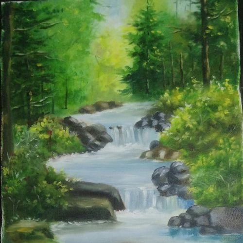 forest, 12 x 16 inch, komal  bharti ,12x16inch,canvas,paintings,landscape paintings,oil color,GAL02470038043