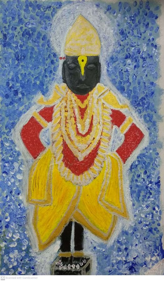 god vitthal statue , 19 x 29 inch, sujit tikone,19x29inch,hardboard,paintings,religious paintings,paintings for dining room,paintings for living room,acrylic color,poster color,GAL02630738046