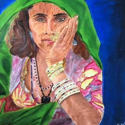rajasthani banjaran, 18 x 24 inch, renu patel,18x24inch,canvas,paintings,figurative paintings,portrait paintings,realistic paintings,paintings for living room,paintings for bedroom,paintings for office,paintings for hotel,paintings for school,acrylic color,GAL02647338047