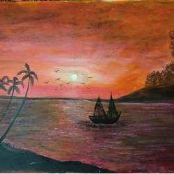 sunset at seashore, 29 x 20 inch, sujit tikone,29x20inch,hardboard,paintings,landscape paintings,paintings for dining room,paintings for living room,paintings for bedroom,paintings for office,paintings for hotel,paintings for dining room,paintings for living room,paintings for bedroom,paintings for office,paintings for hotel,acrylic color,pencil color,poster color,GAL02630738048