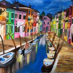 a beautiful dusk of venice, 18 x 24 inch, renu patel,18x24inch,canvas,paintings,cityscape paintings,nature paintings | scenery paintings,realism paintings,realistic paintings,paintings for dining room,paintings for living room,paintings for bedroom,paintings for office,paintings for kids room,paintings for hotel,paintings for school,paintings for hospital,acrylic color,GAL02647338053