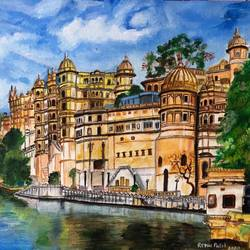 a majestic fort of rajasthan, 16 x 20 inch, renu patel,16x20inch,canvas,paintings,landscape paintings,nature paintings | scenery paintings,realism paintings,realistic paintings,paintings for dining room,paintings for living room,paintings for bedroom,paintings for office,paintings for kids room,paintings for hotel,paintings for school,paintings for hospital,acrylic color,GAL02647338055
