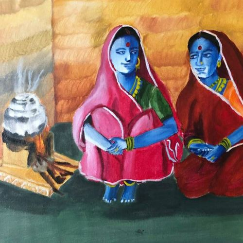 a secret between the two, 18 x 24 inch, renu patel,18x24inch,canvas,paintings,figurative paintings,portrait paintings,portraiture,realism paintings,realistic paintings,paintings for dining room,paintings for living room,paintings for bedroom,paintings for office,paintings for kids room,paintings for hotel,paintings for school,paintings for hospital,acrylic color,GAL02647338056