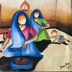 village life, 18 x 20 inch, renu patel,18x20inch,canvas,paintings,figurative paintings,modern art paintings,portrait paintings,art deco paintings,paintings for dining room,paintings for living room,paintings for bedroom,paintings for office,paintings for kids room,paintings for hotel,paintings for kitchen,paintings for school,paintings for hospital,acrylic color,GAL02647338057