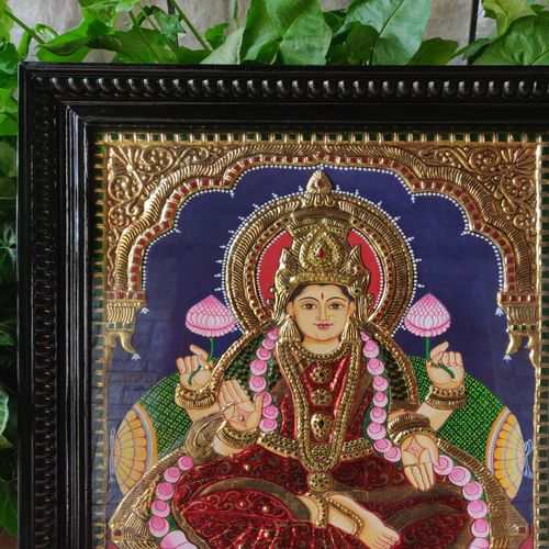 kakshmi tanjore painting, 22 x 27 inch, shyamala rao,22x27inch,wood board,paintings,religious paintings,tanjore paintings,paintings for dining room,paintings for living room,paintings for bedroom,paintings for office,paintings for hotel,paintings for kitchen,paintings for school,paintings for hospital,poster color,wood,metal,GAL02647938063
