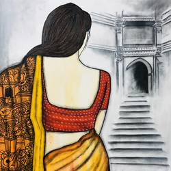 surdhara, 26 x 34 inch, mrinal  dutt,26x34inch,canvas,paintings,figurative paintings,contemporary paintings,paintings for dining room,paintings for living room,paintings for bedroom,paintings for office,paintings for bathroom,paintings for hotel,paintings for kitchen,paintings for hospital,acrylic color,charcoal,GAL01311738065