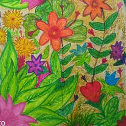 vibrant flowers, 6 x 9 inch, pradeep kumar,6x9inch,thick paper,paintings,flower paintings,paintings for dining room,paintings for living room,paintings for office,paintings for kids room,paintings for hotel,paintings for school,pencil color,GAL02647238067