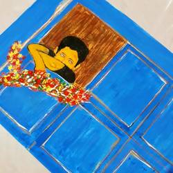 boy feels near window, 9 x 12 inch, pradeep kumar,9x12inch,thick paper,expressionism paintings,paintings for living room,paintings for hotel,paintings for school,paintings for living room,paintings for hotel,paintings for school,acrylic color,pastel color,pencil color,GAL02647238069