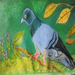 pigeon, 16 x 10 inch, suresh yadav,16x10inch,canvas,paintings,nature paintings | scenery paintings,animal paintings,baby paintings,children paintings,kids paintings,paintings for dining room,paintings for living room,paintings for bedroom,paintings for kids room,paintings for hotel,paintings for school,paintings for hospital,acrylic color,GAL02620938079