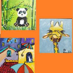 animal collage, 6 x 6 inch, vinaya mallya,6x6inch,canvas,paintings,paintings for kids room,acrylic color,GAL02649938084