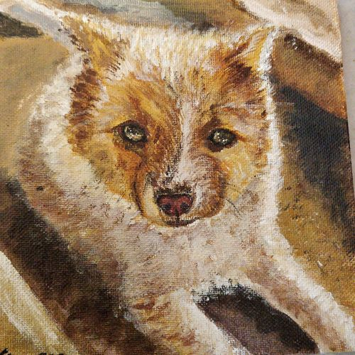 puppy, 6 x 6 inch, vinaya mallya,6x6inch,canvas,paintings,paintings for kids room,acrylic color,GAL02649938085