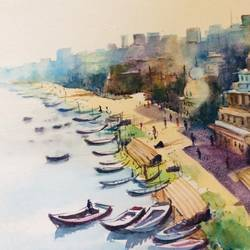 varanasi ghat, 17 x 24 inch, pradeep kumar.c,17x24inch,thick paper,paintings,landscape paintings,watercolor,GAL02574938086