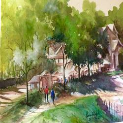 sunny village, 12 x 17 inch, pradeep kumar.c,12x17inch,thick paper,landscape paintings,watercolor,GAL02574938087