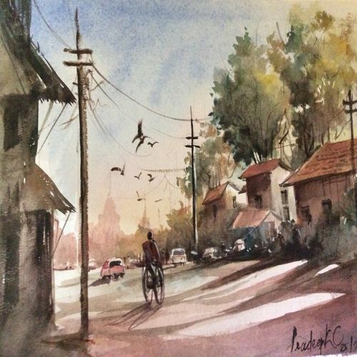a road view, 12 x 17 inch, pradeep kumar.c,12x17inch,thick paper,paintings,landscape paintings,watercolor,GAL02574938088