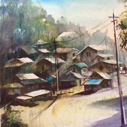 a village in the early morning, 12 x 17 inch, pradeep kumar.c,12x17inch,thick paper,paintings,landscape paintings,watercolor,GAL02574938089