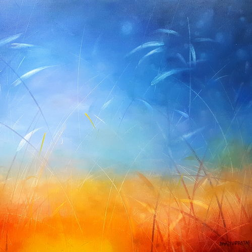 sunlight through grass, 36 x 24 inch, bhanupratap khare,paintings for living room,abstract paintings,canvas,oil,36x24inch,GAL012963809