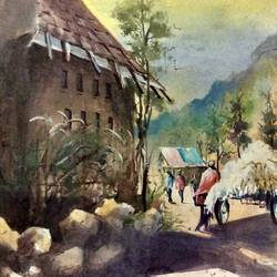 a village in dark, 11 x 17 inch, pradeep kumar.c,11x17inch,thick paper,paintings,landscape paintings,watercolor,GAL02574938090