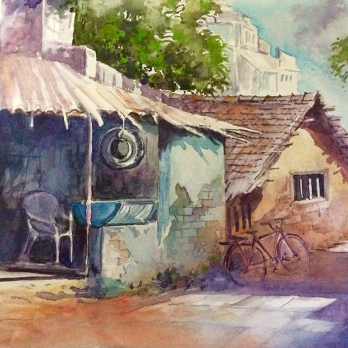 tyre wala, 12 x 17 inch, pradeep kumar.c,12x17inch,thick paper,paintings,landscape paintings,watercolor,GAL02574938091