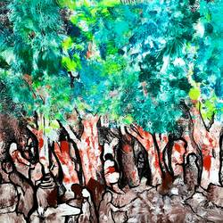 in the woods , 24 x 18 inch, musolini rajagopal,24x18inch,canvas,paintings,abstract paintings,acrylic color,GAL01311938095