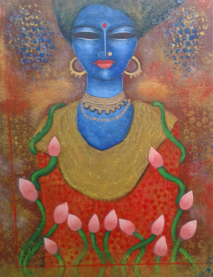 bengali bibi, 20 x 20 inch, arindam chakraborty,figurative paintings,paintings for living room,canvas,acrylic color,20x20inch,GAL0165381