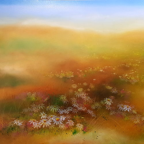 grassland, 40 x 30 inch, bhanupratap khare,landscape paintings,paintings for living room,nature paintings,canvas,oil,40x30inch,GAL012963810Nature,environment,Beauty,scenery,greenery,trees,water,beautiful