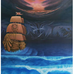 dark ship, 24 x 36 inch, manash kalita,24x36inch,canvas,paintings,realistic paintings,paintings for hotel,paintings for hotel,oil color,GAL02342138103