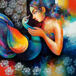 damyanti 3, 36 x 36 inch, sanjay  tandekar ,36x36inch,canvas,paintings,modern art paintings,contemporary paintings,paintings for dining room,paintings for living room,paintings for bedroom,paintings for office,paintings for hotel,paintings for hospital,acrylic color,GAL0281038104