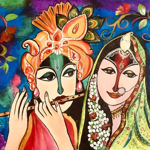 beautiful radha krishna floral, 36 x 20 inch, pragati c,36x20inch,canvas,paintings,abstract paintings,figurative paintings,flower paintings,modern art paintings,religious paintings,portrait paintings,abstract expressionism paintings,radha krishna paintings,love paintings,paintings for dining room,paintings for living room,paintings for bedroom,paintings for hotel,acrylic color,GAL02554638107