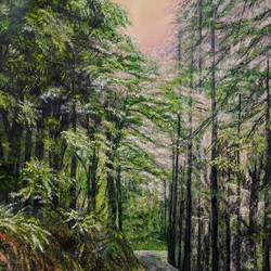 a walk in the woods in nainital, 28 x 30 inch, jugnu bakshi,28x30inch,canvas,paintings,landscape paintings,paintings for living room,fabric,GAL0969338110