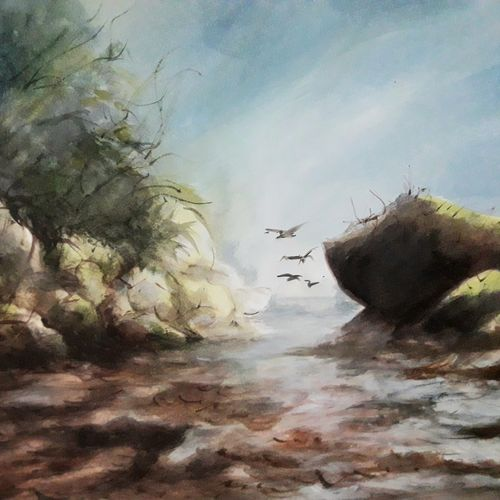 nature, 12 x 17 inch, pradeep kumar.c,12x17inch,thick paper,paintings,landscape paintings,watercolor,GAL02574938112