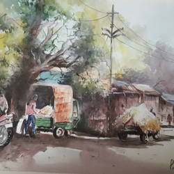 village junction, 11 x 17 inch, pradeep kumar.c,11x17inch,thick paper,paintings,landscape paintings,watercolor,GAL02574938113