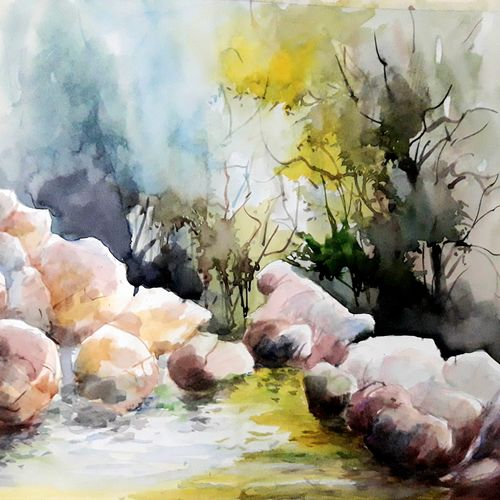 nature water reflections, 12 x 17 inch, pradeep kumar.c,12x17inch,thick paper,paintings,landscape paintings,watercolor,GAL02574938115