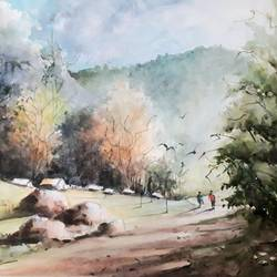 nature village scene, 12 x 17 inch, pradeep kumar.c,12x17inch,thick paper,paintings,landscape paintings,watercolor,GAL02574938116