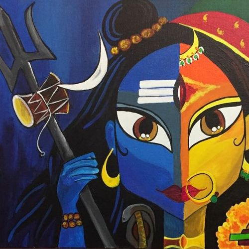 shiv shakti, 16 x 30 inch, chandni mishra,religious paintings,paintings for living room,canvas,acrylic color,16x30inch,GAL013993813