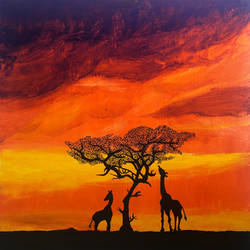 maasai mara, 23 x 23 inch, karan shah,23x23inch,canvas,wildlife paintings,landscape paintings,nature paintings | scenery paintings,animal paintings,paintings for dining room,paintings for living room,paintings for bedroom,paintings for kids room,paintings for dining room,paintings for living room,paintings for bedroom,paintings for kids room,acrylic color,GAL02652838131