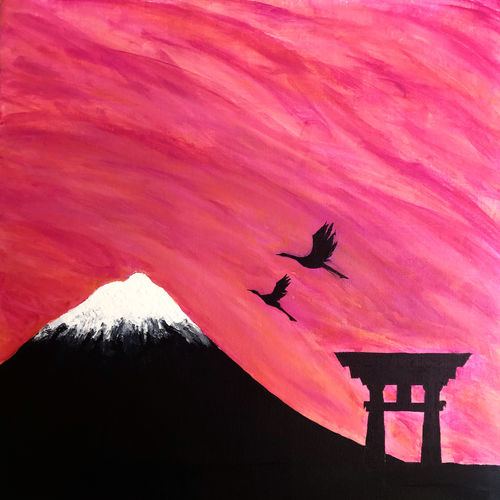 mount fuji, 23 x 23 inch, karan shah,23x23inch,canvas,paintings,wildlife paintings,landscape paintings,nature paintings | scenery paintings,animal paintings,paintings for dining room,paintings for living room,paintings for bedroom,paintings for kids room,acrylic color,GAL02652838132