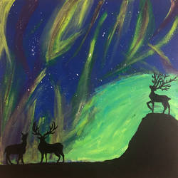 northern lights, norway, 23 x 23 inch, karan shah,23x23inch,canvas,paintings,landscape paintings,nature paintings | scenery paintings,animal paintings,paintings for dining room,paintings for living room,paintings for bedroom,paintings for kids room,acrylic color,GAL02652838133