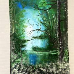 forest painting, 12 x 18 inch, poonam rajput,12x18inch,canvas,paintings,nature paintings | scenery paintings,paintings for living room,paintings for living room,acrylic color,GAL02654338144