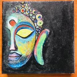 colourful buddha, 7 x 7 inch, poonam rajput,7x7inch,canvas,paintings,buddha paintings,paintings for living room,paintings for living room,acrylic color,GAL02654338145