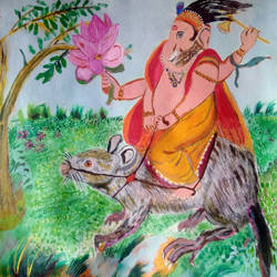 shree ganesh, 20 x 20 inch, suresh yadav,20x20inch,canvas,paintings,religious paintings,portrait paintings,nature paintings | scenery paintings,children paintings,lord shiva paintings,paintings for dining room,paintings for living room,paintings for bedroom,paintings for hotel,paintings for school,acrylic color,fabric,GAL02620938147