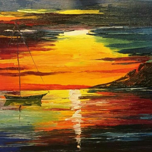 sail, 15 x 22 inch, chandni mishra,nature paintings,paintings for living room,canvas,oil,15x22inch,GAL013993815Nature,environment,Beauty,scenery,greenery,trees,water,beautiful,sunset,sailing,boat
