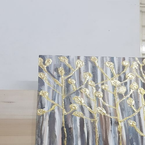 gold tree, 20 x 30 inch, sarah husain,20x30inch,canvas,paintings,abstract paintings,paintings for dining room,paintings for living room,paintings for office,paintings for hotel,acrylic color,GAL02652638150