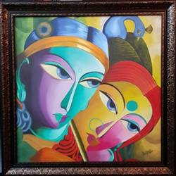 eternal love !!, 24 x 24 inch, deepali aggarwal,24x24inch,canvas,paintings,radha krishna paintings,oil color,GAL02651138158
