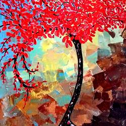 autumn , 18 x 24 inch, deepali aggarwal,18x24inch,canvas,nature paintings | scenery paintings,acrylic color,GAL02651138159