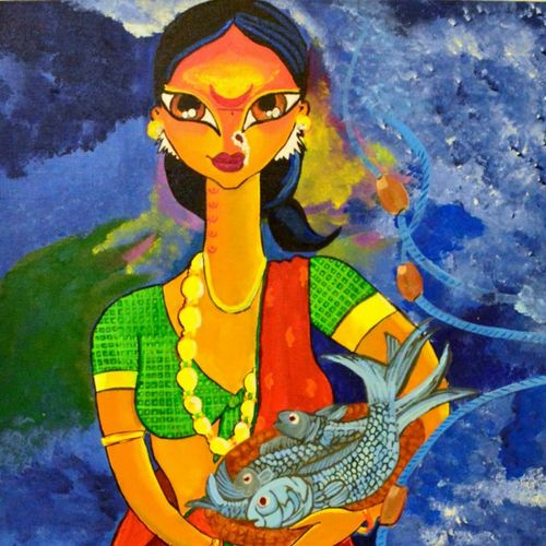 urmi, 18 x 24 inch, chandni mishra,figurative paintings,paintings for dining room,canvas,acrylic color,18x24inch,GAL013993816
