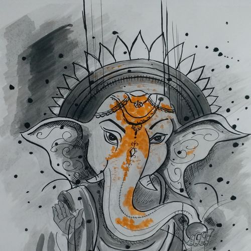 divine !!, 29 x 36 inch, deepali aggarwal,29x36inch,ivory sheet,drawings,ganesha drawings,paintings for dining room,paintings for living room,pen color,watercolor,paper,GAL02651138163