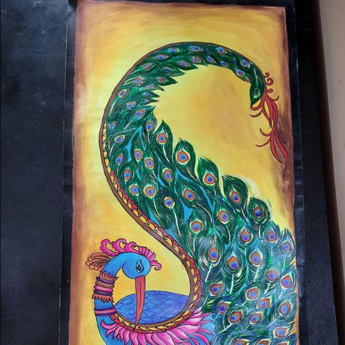 peacock, 11 x 24 inch, ratna bose,11x24inch,ivory sheet,paintings,paintings for living room,poster color,GAL02197838177