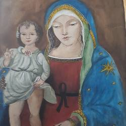 mother and child, 17 x 12 inch, ratna bose,17x12inch,ivory sheet,paintings,paintings for living room,watercolor,GAL02197838178