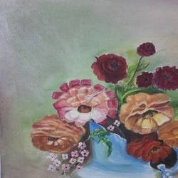 bouquet of flowers , 18 x 24 inch, ratna bose,18x24inch,canvas,paintings,flower paintings,paintings for dining room,oil color,GAL02197838179